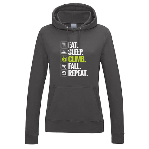Eat. Sleep. Climb. Fall. Repeat. Women's Hoodie