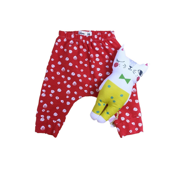 Red & White Confetti Organic Cotton Pants