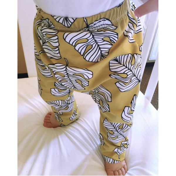 Pantaloni Bumbac Organic Monstera Gold