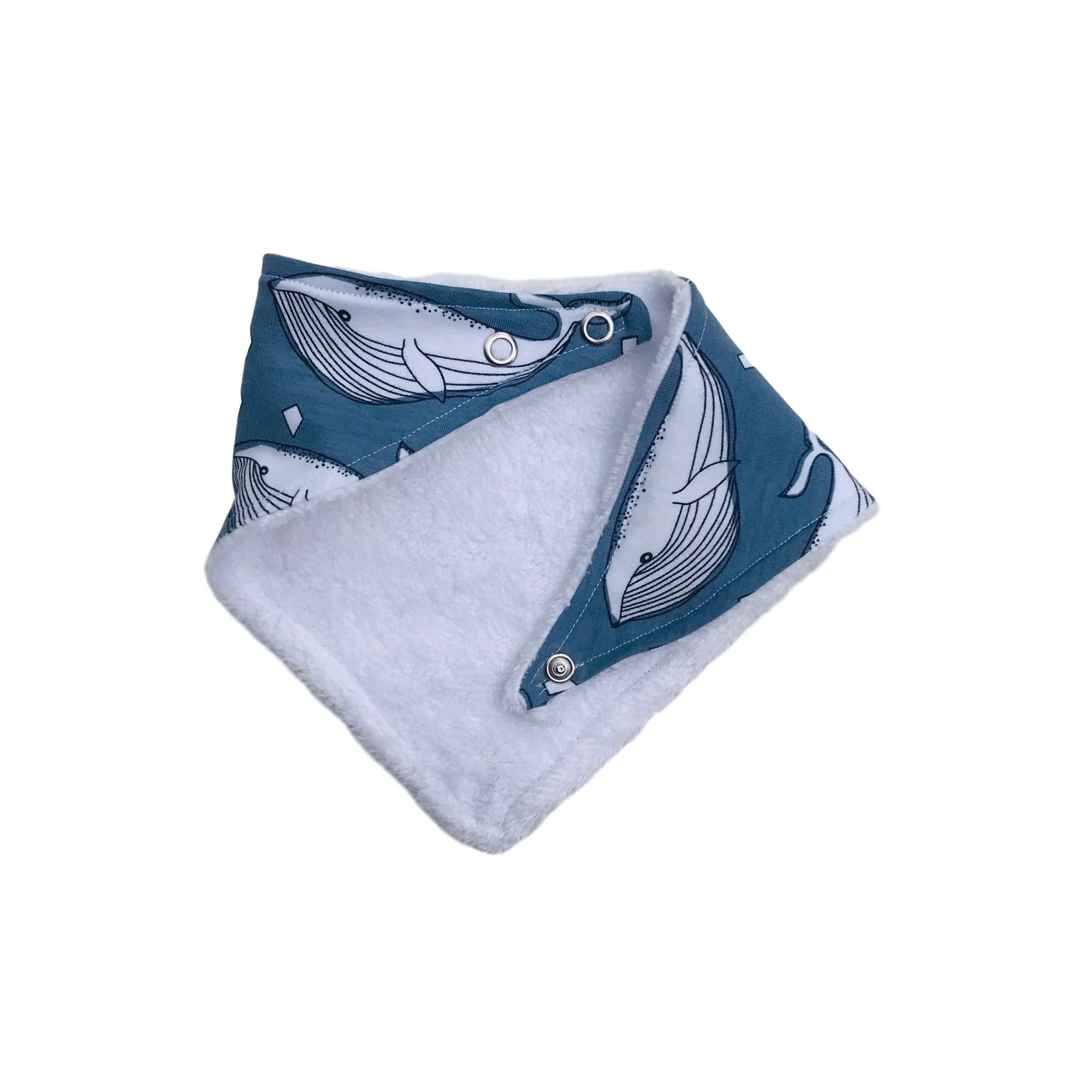Organic Whale Cotton / Bamboo Bib in Blue