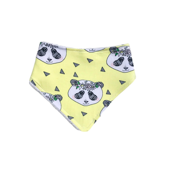 Organic Yellow Panda Cotton / Bamboo Bib