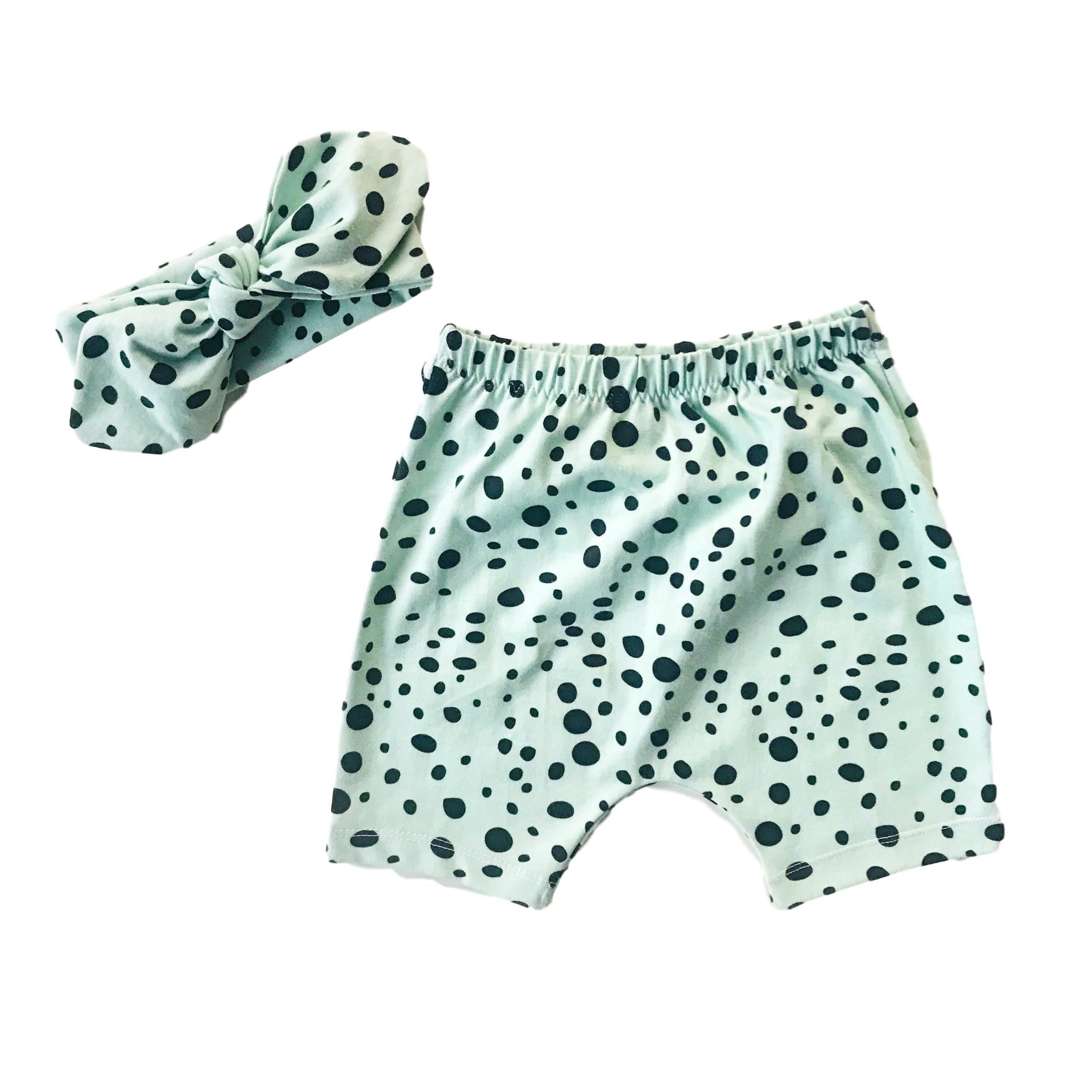 Organic Dots Cotton Shorts in Mint