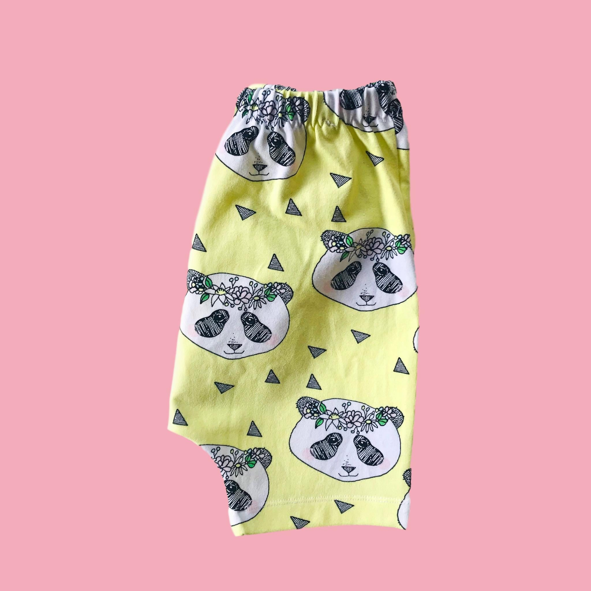 Organic Flower Panda Cotton Shorts