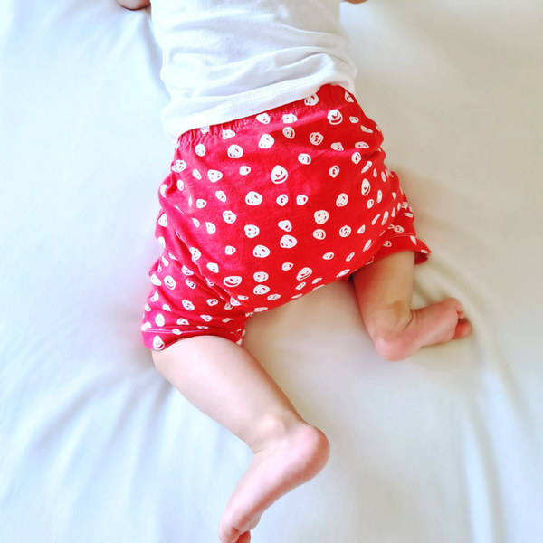 Organic Confetti Red & White Cotton Shorts