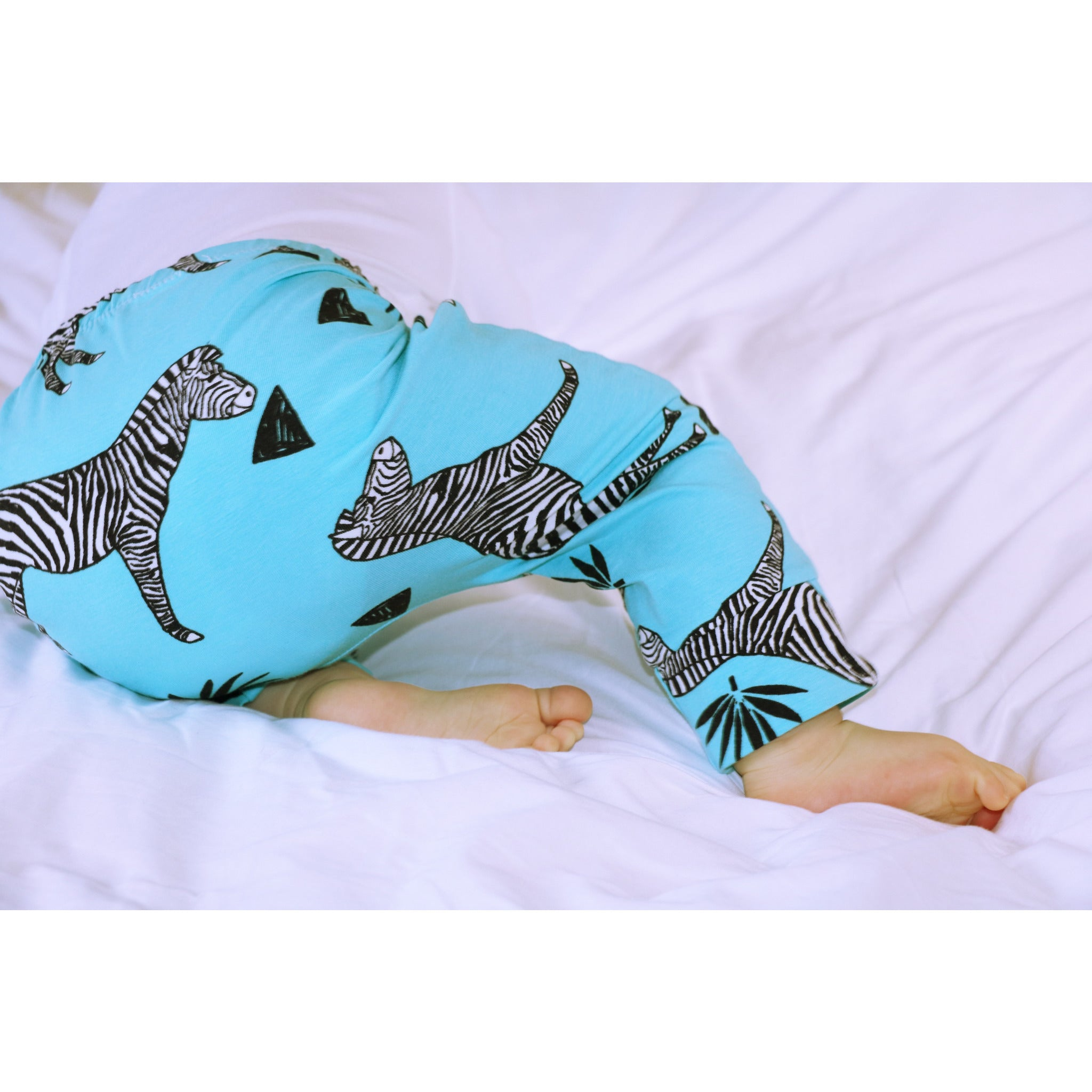 Organic Cotton Zebra Turquoise Trousers