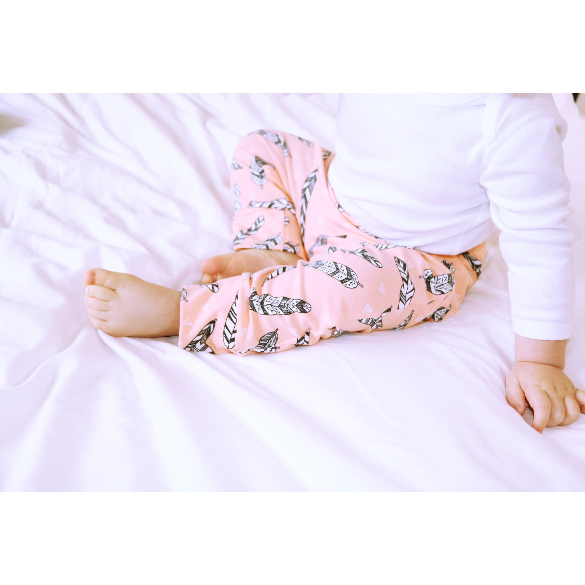 Organic Pink Feathers Cotton Trousers