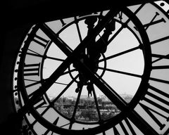 tower clock from inside black and white