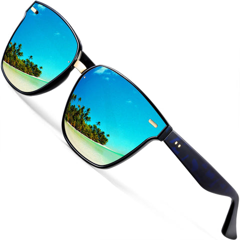 7358308dc2 ATTCL Unisex Wayfarer Sunglasses 100% Polarized UV Protection Blue as the  pictures