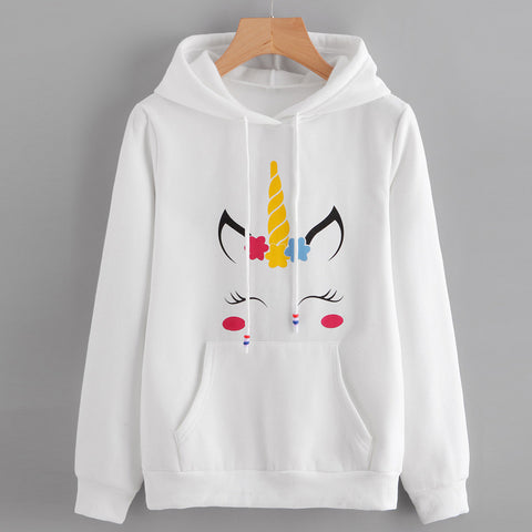 Womens Unicorn Print Long Sleeve Hoodie Sweatshirt Jumper Hooded Pullover Tops, , Unicorn Rhapsody, unicorn products, unicorn stuff