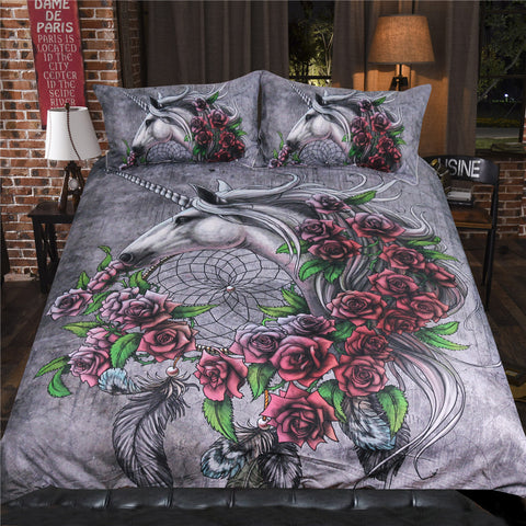 Unicorn Dreamcatcher Bedsheet Color by Sunima-MysteryArt Bedding Set Roses Gray Duvet Cover Floral Bed Set Animal Home Textiles, , Unicorn Rhapsody, unicorn products, unicorn stuff