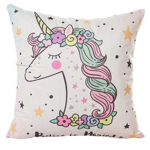 Pillow Case Cover Cartoon Unicorn Printed Pillow Case Cotton Linen Waist Cushion Cover Home, , Unicorn Rhapsody, unicorn products, unicorn stuff