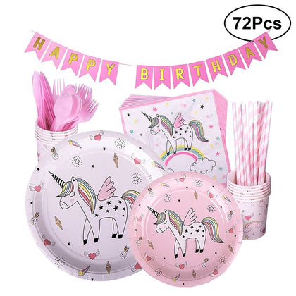 72pcs Cute Birthday Suits Rainbow Unicorn Theme Party Decorations Supplies (Pink), , Unicorn Rhapsody, unicorn products, unicorn stuff