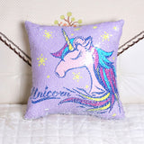 Double Colors Reversible Sequin Pillowslip Cartoon Unicorn Printed Sofa Car Bed Chair Pillow Cover Shining Pillowcase, , Unicorn Rhapsody, unicorn products, unicorn stuff
