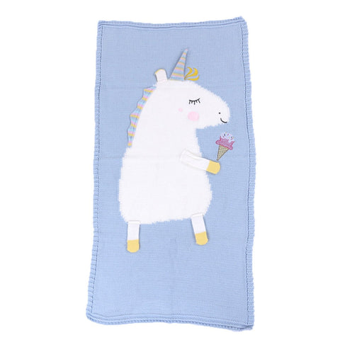 Children's Knitted Blanket Baby Cute Unicorn Pattern Blanket Air Conditioning Blanket Beach Mat