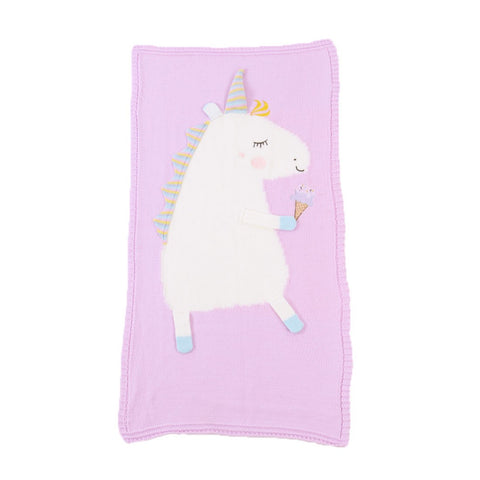 Children's Knitted Blanket Baby Cute Unicorn Pattern Blanket Air Conditioning Blanket Beach Mat, , Unicorn Rhapsody, unicorn products, unicorn stuff