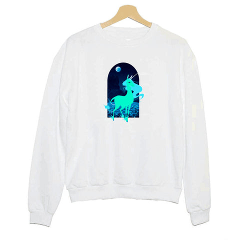 Hillbilly J-781 Sweatshirt Moonlight Unicorn Aesthetic Print Lady Long Sleeve Hoodies Creative Lady Round Collar Slim Shirt, , Unicorn Rhapsody, unicorn products, unicorn stuff