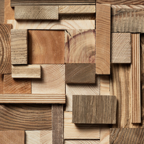 wood pieces in a variety of color, texture and grain