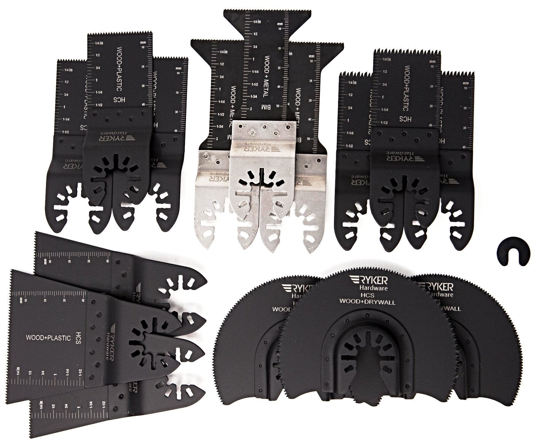 caseypowell - 15 Piece Variety Pack of Quick Release Oscillating Saw Blades For Wood and Metal - Oscillating Saw Blade - Ryker Hardware