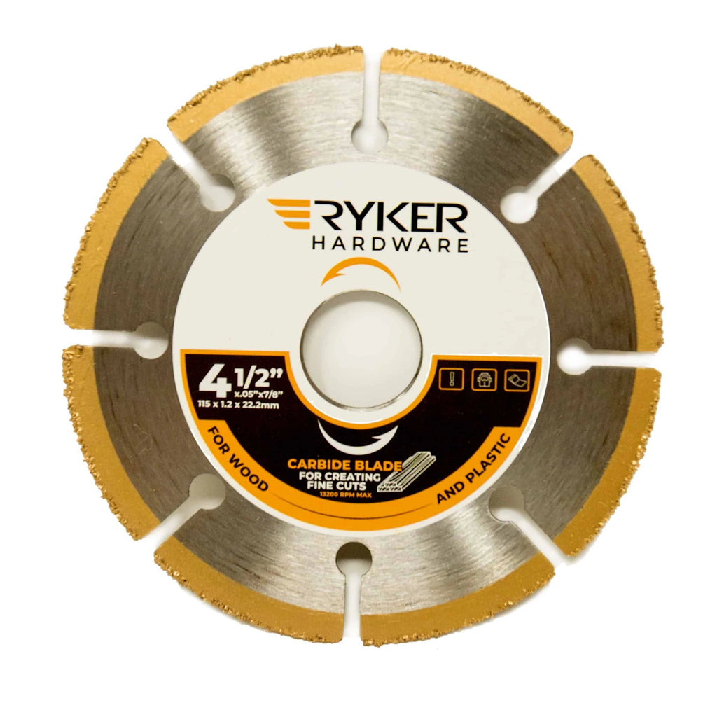 4.5 Inch Carbide Cut Off Wheel For Angle Grinders - For Wood, Plastic, Vinyl, Hardie Board - Ryker Hardware