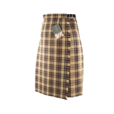 Camel Check Design Midi Kilt (59cm Length)