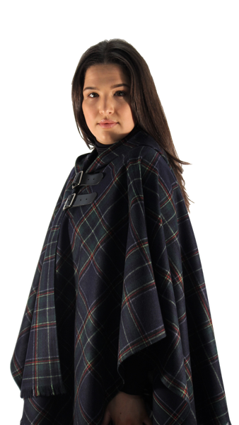 Navy Check Wrap Cape