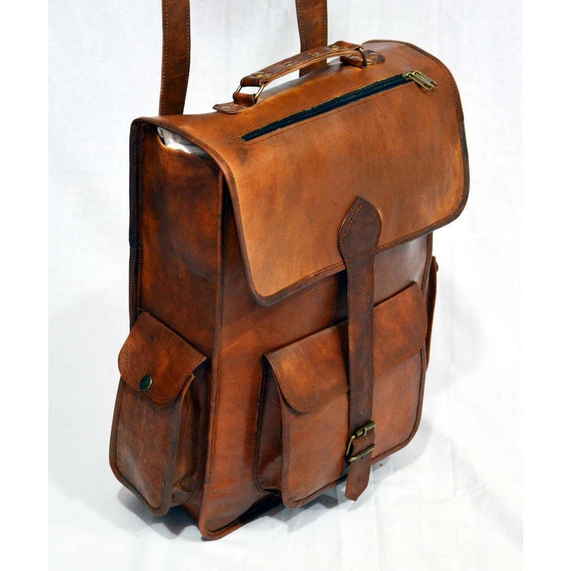 Large Handmade Leather School Bag Laptop School Backpack
