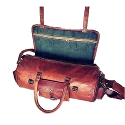 Vintage Brown Handmade Genuine Leather Duffle Bag