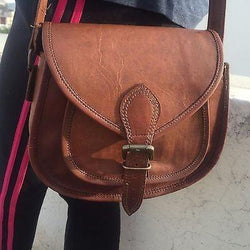 Women Vintage Leather Cross Body Messenger Tote Bag