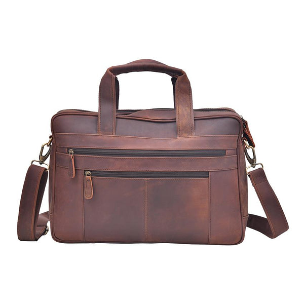 Deep Brown Vintage Leather Messenger Bag