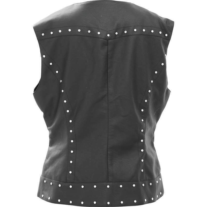 New Tailored Black Faux Vegan Leather VEST Motorcycle Biker Studded Lady Rider