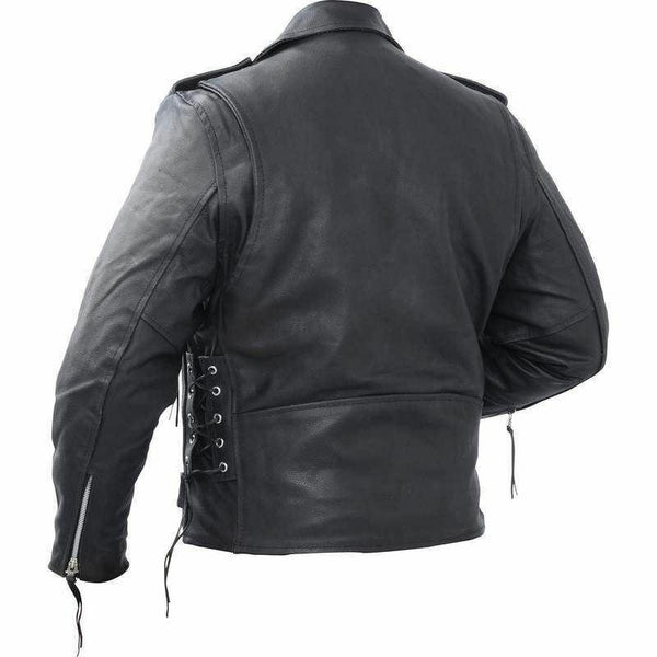 Authentic Black Full Grain Cow Leather Cross Close Jacket