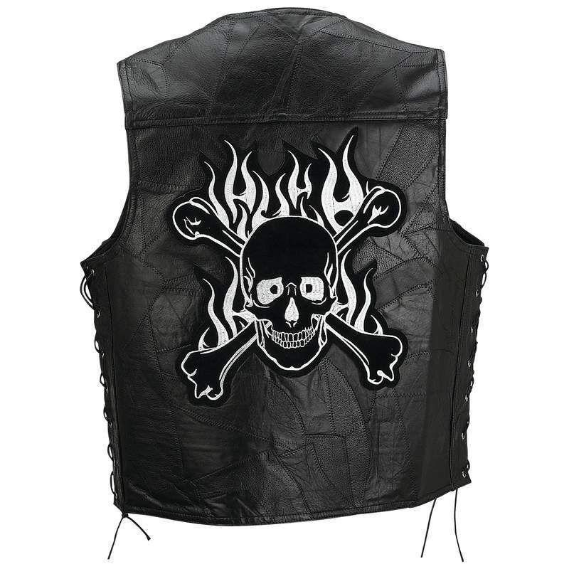 New Men's Flaming Skull Black Genuine Buffalo Leather Vest