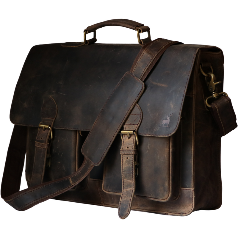 Retro Buffalo Leather Laptop Messenger Bag