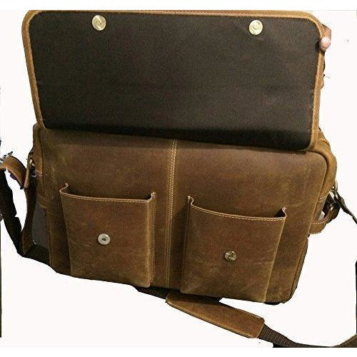 Handmade Men's Brown Leather Briefcase