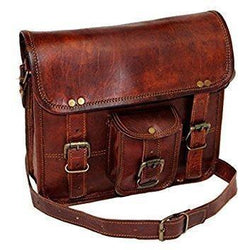 Mens Brown Leather Shoulder Bag Satchel