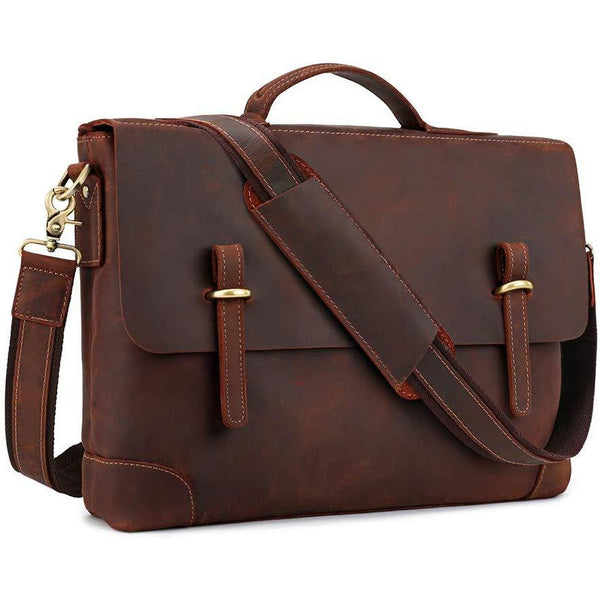 Genuine Leather Messenger Bag Tote, Leisure 15 Inch Laptop Briefcase
