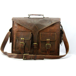 Men's Genuine Vintage Brown Leather Messenger Bag