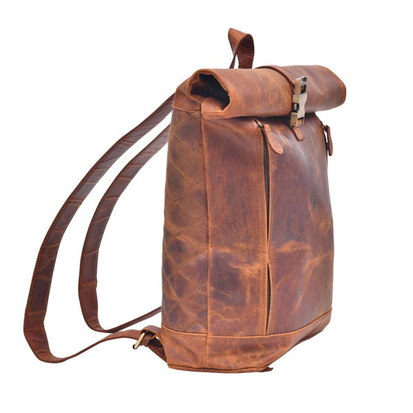 Roll Up Genuine Leather Backpack