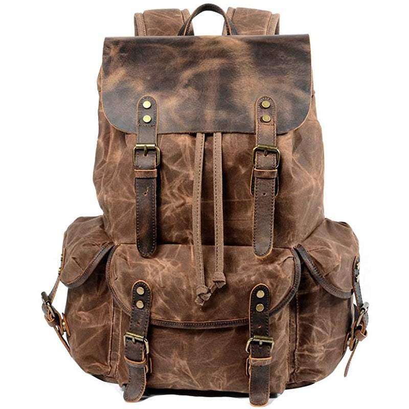 Waxed Canvas Leather Backpack