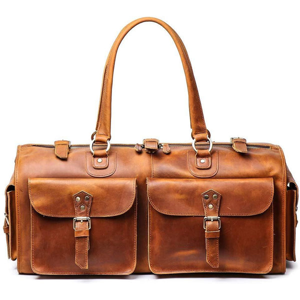 Full Grain Duffel Leather Weekend Travel Bag, 22""