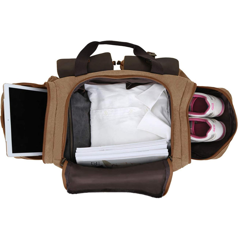 Canvas Cowhide Leather Weekender Travel Duffel Bag