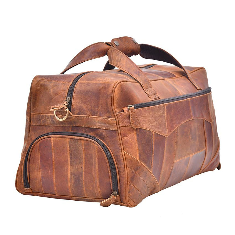 Gorgeous Leather Duffel Bag with Patchwork Shade