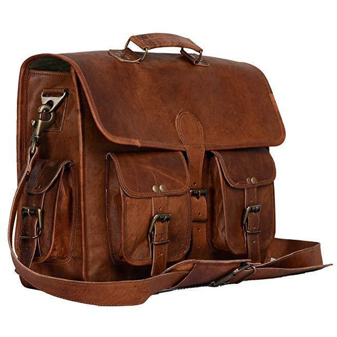 Handmade Brown Vintage Leather Briefcase Bag