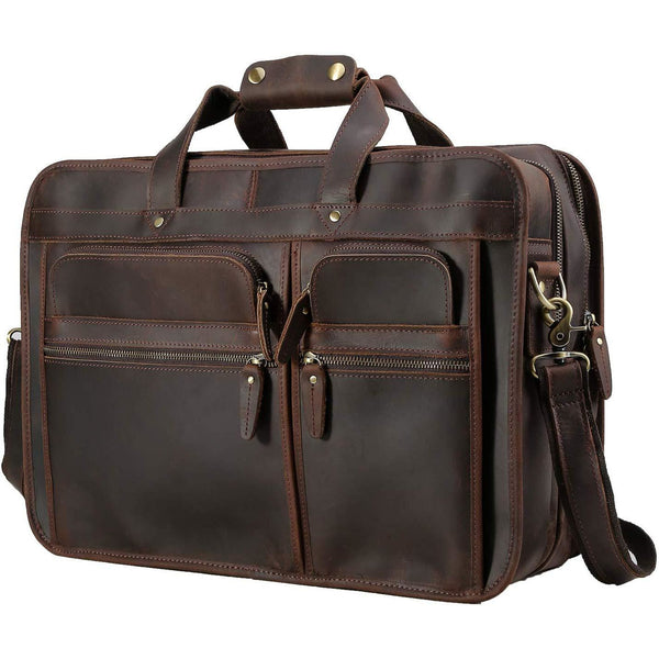 "18"" Full Grain Vintage Leather Travel Laptop Briefcase"