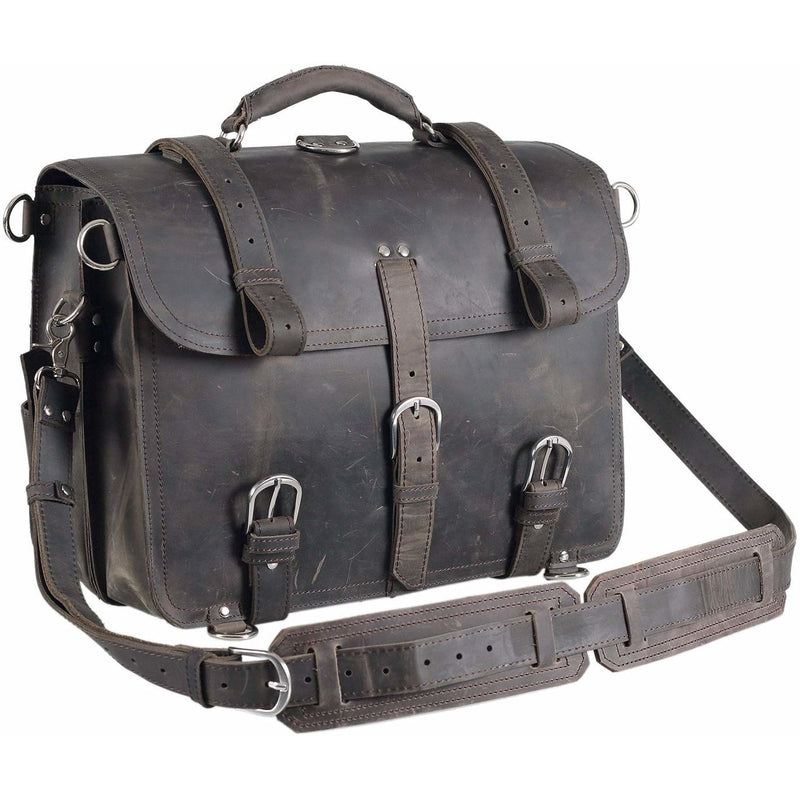 Full Grain Cow Leather Briefcase Backpack - Black