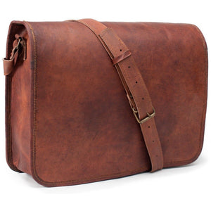 Unisex cross body leather satchel bag in the deep brown color