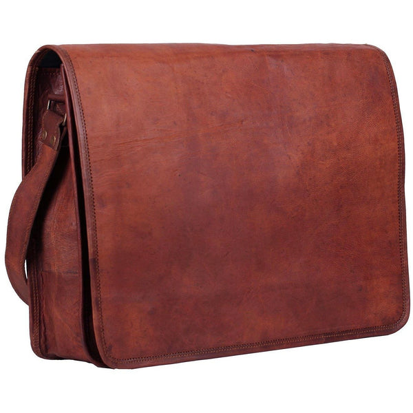 Unisex Cross Body Vintage Leather Messenger Bag In Light Brown Shade