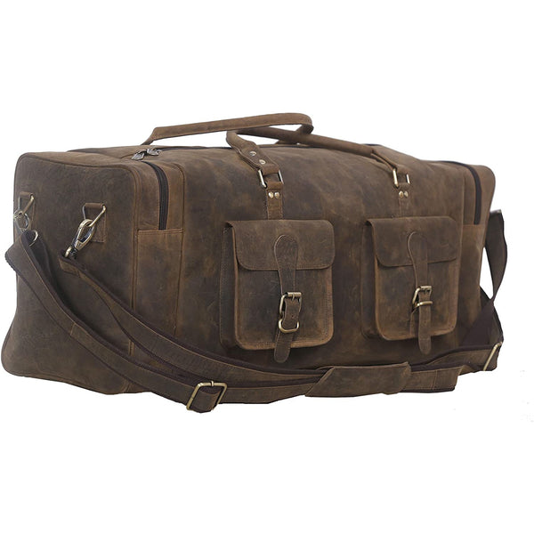 Large Buffalo Hunter Leather Travel Duffel Bag