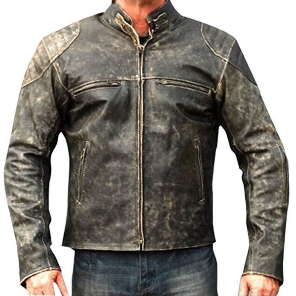Vintage Distressed Motor Biker Leather Jacket