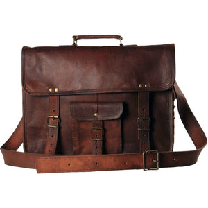Leather Unisex Real Leather Messenger Bag for Laptop Briefcase Satchel ...